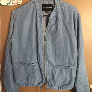 Who What Wear Jackets & Coats - Who what wear denim colored bomber jacket